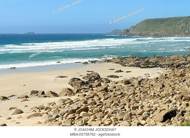 Coastal landscape on the South-West-Path between Land's End and St. Just, Cornwall, Southern England, Great Britain