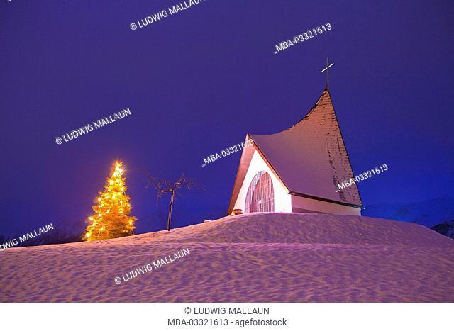 Austria, Tyrol, Mieming, chapel with Christmas tree