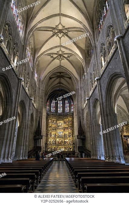 Gothic altarpiece in the interior of Cathedral of San Salvador in Oviedo, Asturias, Spain