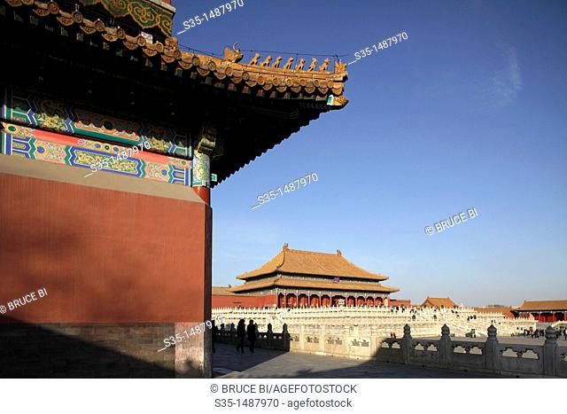 Hall of Supreme Harmony (Tai He Dian), the ceremonial center of imperial power since Ming dynasty, Forbidden City, Beijing, China
