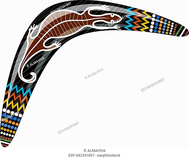 Australian wooden boomerang. Cartoon boomerang with a lizard on a white background. Vector illustration of colored boomerang Tribal lizard