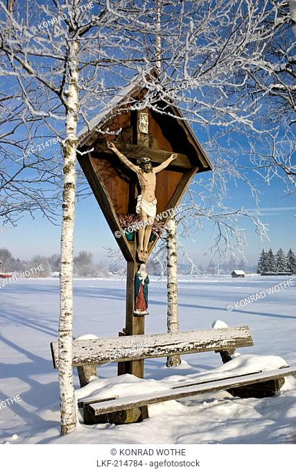 Wayside cross in Winter, winter scenery, Upper Bavaria, Bavaria, Germany