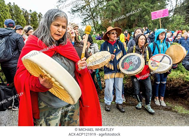 Large group of Indigenous leaders risk arrest at Blockade of Kinder Morgan Pipeline entrance, Burnaby Mountain, Burnaby, British Columbia, Canada