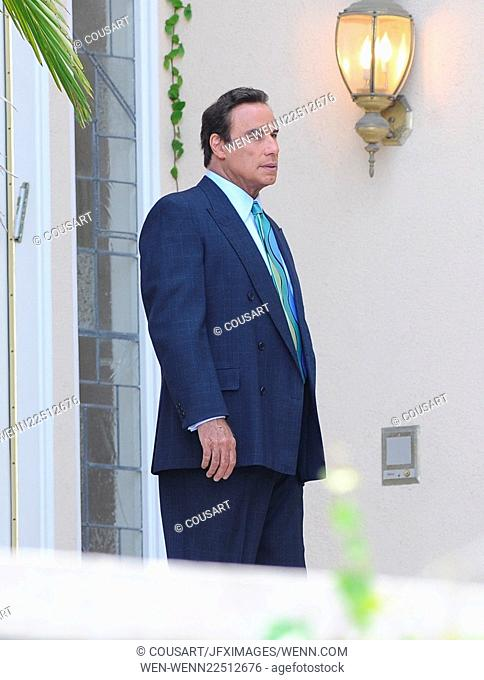 "Actor John Travolta on the set of """"American Crime Story"""" with co star Cuba Gooding Jr filming in Encino Ca. John plays the role of famous lawyer Robert..."