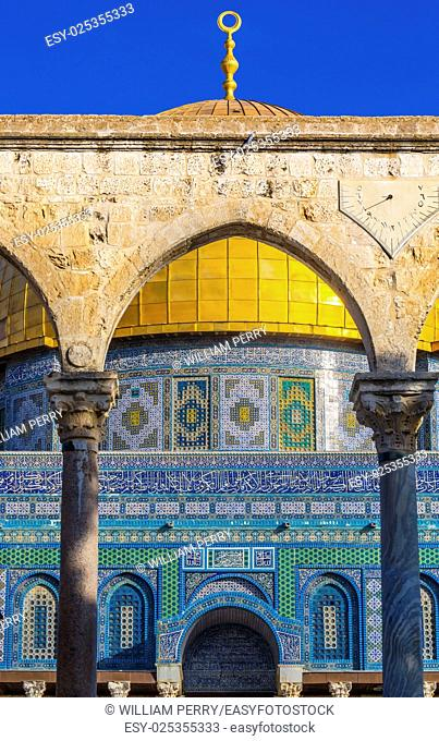 Dome of the Rock Arch Islamic Mosque Temple Mount Jerusalem Israel. Built in 691 One of most sacred spots in Islam where Prophet Mohamed ascended to heaven on...