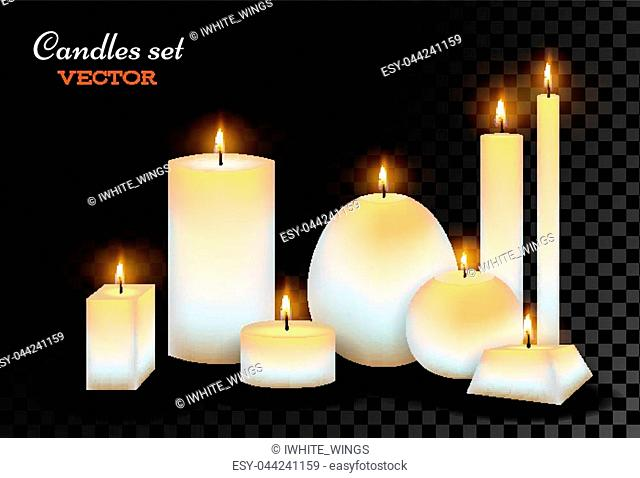 Vector realistic candles set. 3d wax lit, romantic celebration, dating, christmas birthday holiday, anniversary party glowing decoration objects with fire flame