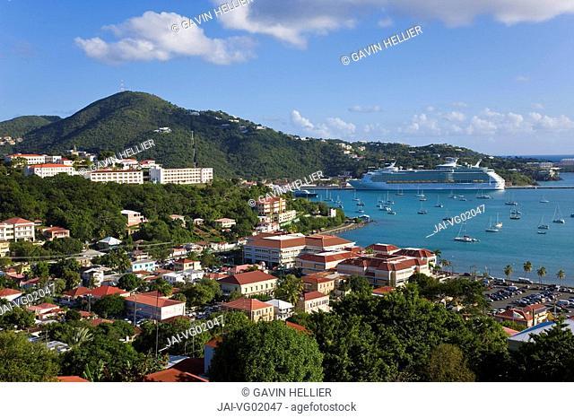 Caribbean, US Virgin Islands, St. Thomas, Charlotte Amalie & Havensight cruise ship dock