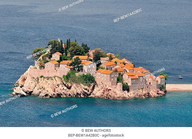 Sveti Stefan small islet and resort in Montenegro Balkans