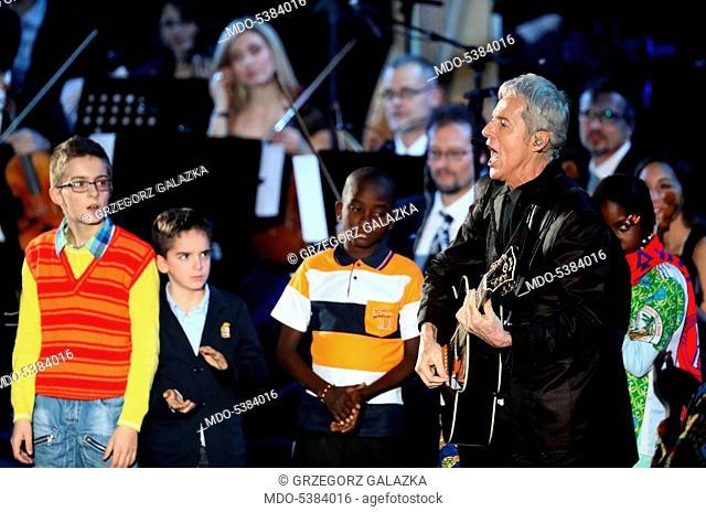 Singer and songwriter Claudio Baglioni during the charity concert Avrai, in the Paul VI Audience Hall, in favor of the Bangui Hospital (Central African...