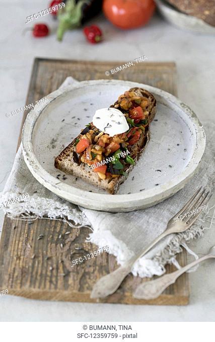 Peasant bread topped with eggplant caponata
