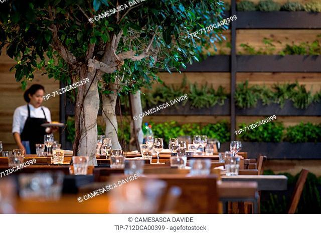 Spain, Catalonia, Barcelona, Santa Caterina market, Tables at Cuines Santa Caterina restaurant
