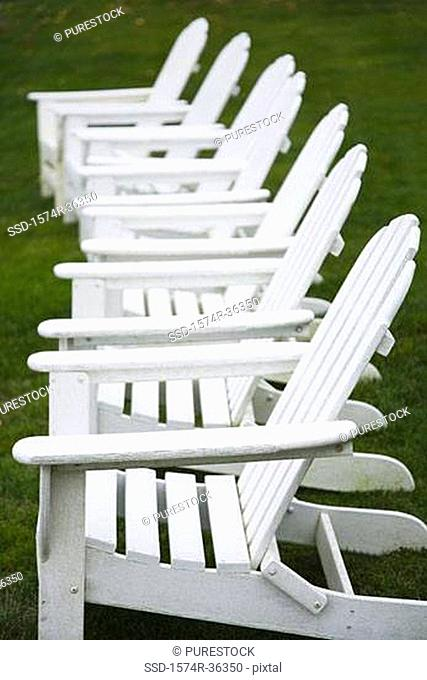 Adirondack chairs in a row
