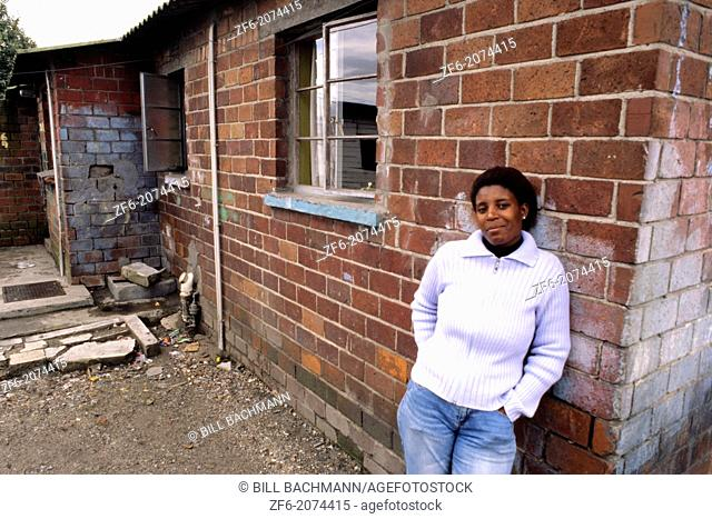 Poverty Stricken Woman in South African Shanty Town