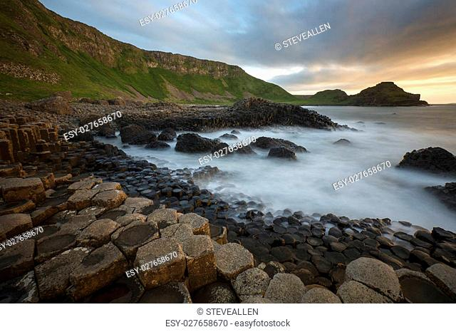Dusk at the Giants Causeway in County Antrim in Northern Ireland. A UNESCO World Heritage Site