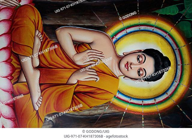 Temple painting depicting Buddha sitting on a lotus flower
