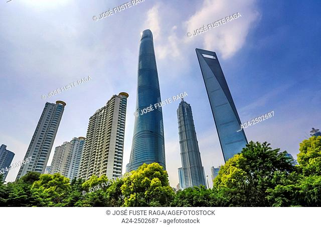 China, Shanghai City, Pudong District,Lujiazui , World Financial Center , Jinmao Bldg. and Shanghai Tower
