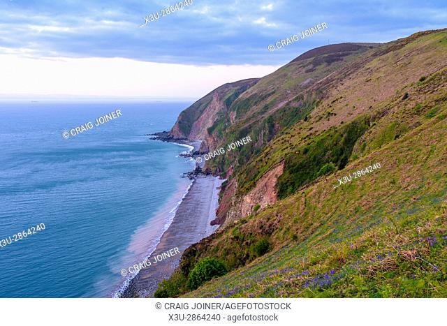 Foreland Point and the Bristol Channel in Exmoor National Park near Lynmouth, Somerset, England
