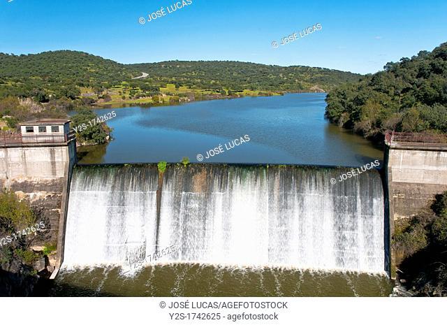 Reservoir and dam on Sillo river, Cumbres de Enmedio, Huelva-province, Spain
