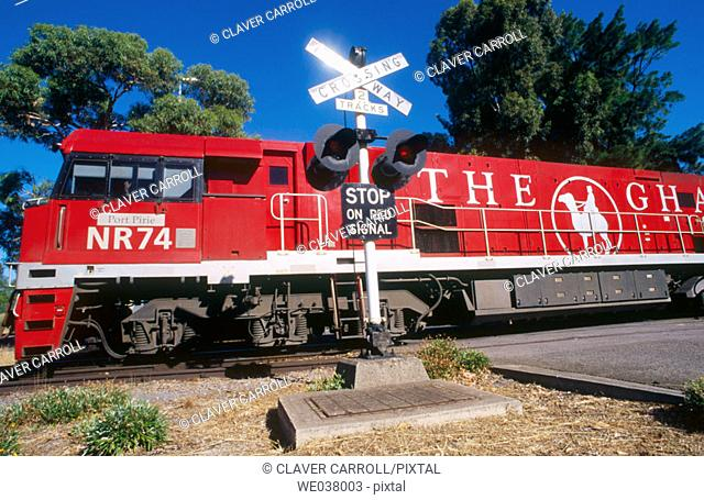 The Ghan passenger train. Adelaide to Darwin, tourism. Australia