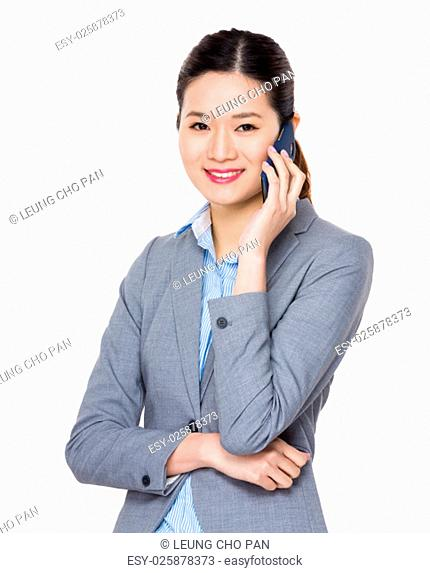 Young businesswoman chat on mobile phone