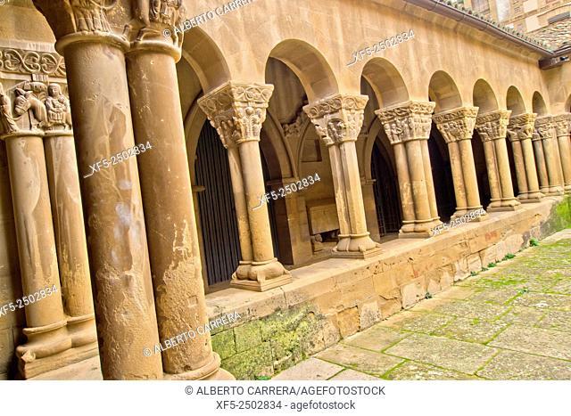 Decorated Capital, Romanesque Cloister, Monastery of San Pedro el Viejo, Huesca, Aragón, Spain, Europe