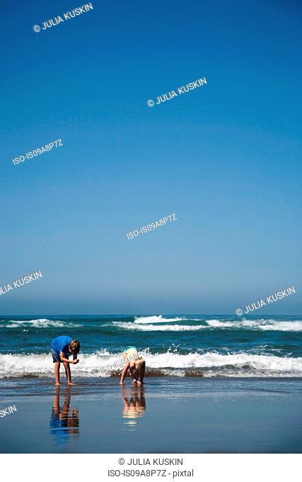 Boy and girl collecting on Manzanita beach, Oregon, USA