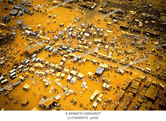 An Aerial View of an Informal Settlement  Downtown Luanda, Angola, Southern Africa