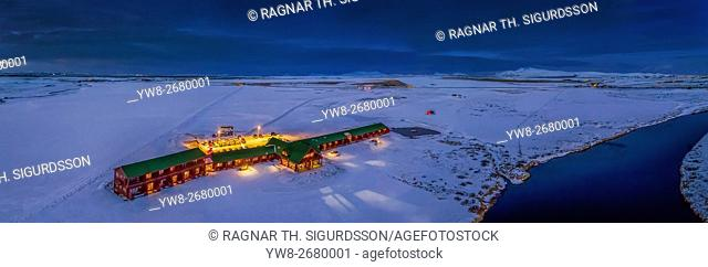 Aerial view of Hotel Ranga in the winter, Iceland. This image is shot using a drone