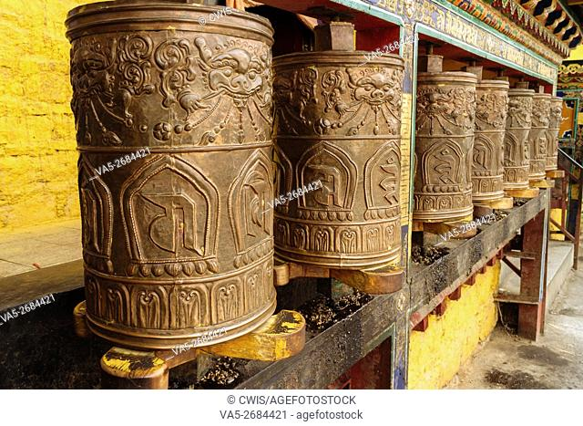 Lhasa, Tibet, China - The view of many golden prayer wheels in Potala Palace