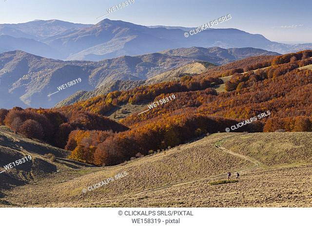 Two hikers at near Crociglia pass, Nure valley, Picenza province, Apennines,Italy