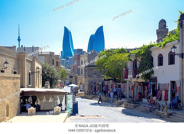world heritage, Azerbaijan, Caucasus, Eurasia, Baku, City, Flame, Old Baku, architecture, shops, skyline, street, tourists, towers, travel, unesco, Flame Towers