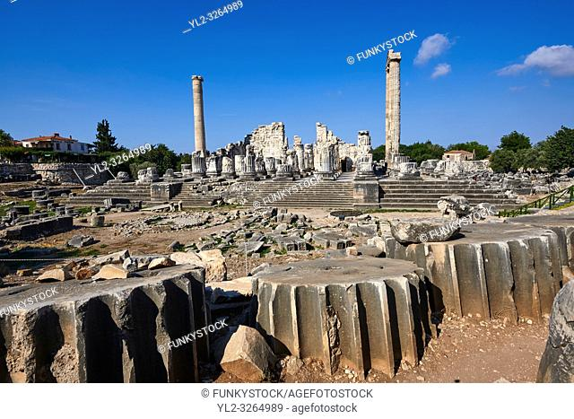 Picture of the ruins of the Ancient Ionian Greek Didyma Temple of Apollo & home to the Oracle of Apollo. Also known as the Didymaion completed circa 550 BC