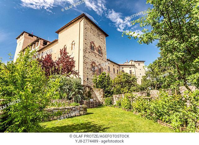 Castle garden inside Rocca di Angera at Lago Maggiore, Varese, Italy