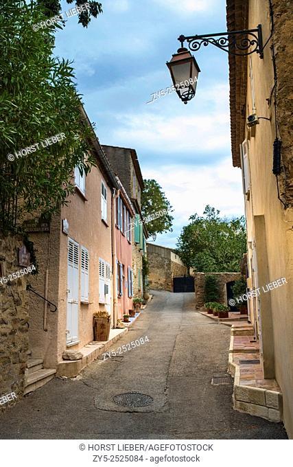 Old stone streets in the mountain village Grimaund - Grimaud - France, Departement Var, Côte d'Azur