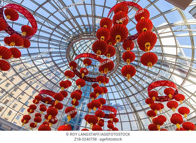 Decorative lanterns hanging in the entrance to a shopping mall in Vancouver for Chinese New Year