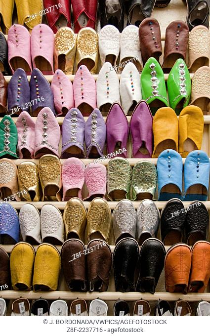 Babouche or slippers in souk market in Marrakech, Morocco