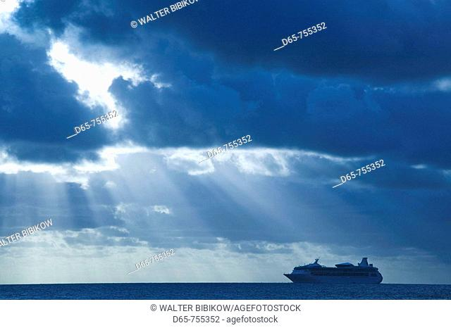 New Caledonia - Grande Terre Island - Noumea - cruise ship on the South Pacific Ocean at sunset