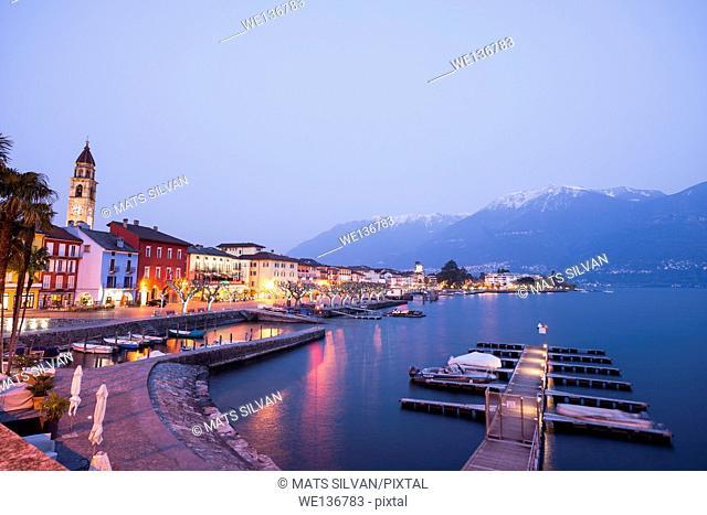 Ascona in blue hour in Ticino, Switzerland