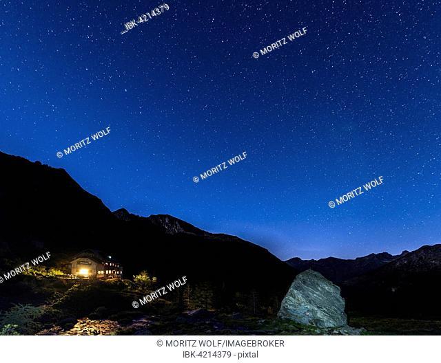 Starry sky above Gollinghütte at night, Rohrmoos-Untertal, Schladming Tauern, Alps, Styria, Austria
