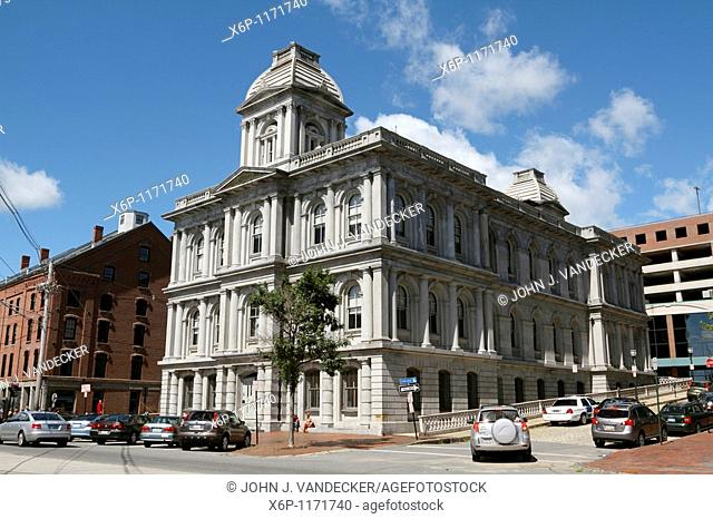 U S  Customs House on Commercial Street at the waterfront in Portland, Maine, USA