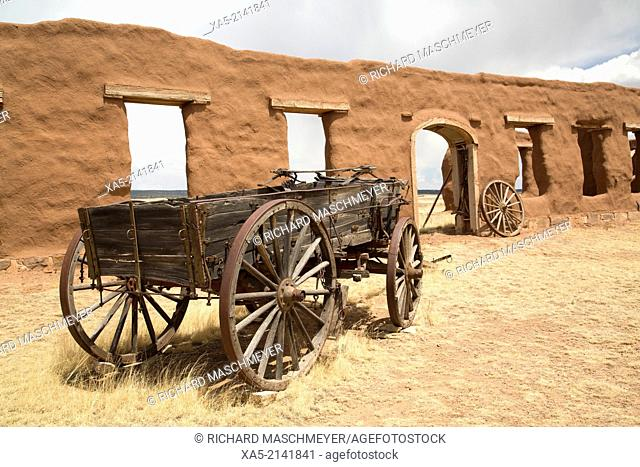 Fort Union National Monument, fort operated from 1851-1891, old wagons. New Mexico, USA