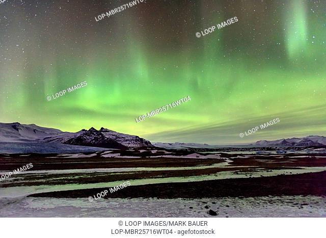 A display of northern lights in southern Iceland