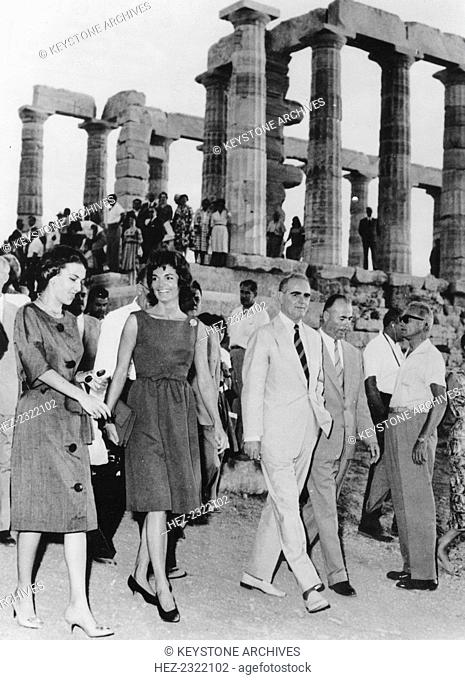 Jacqueline Kennedy (1929-1994) visiting the ancient temple of Neptune at Cap Sounion, Greece, 1961. Jacqueline Kennedy is escorted by the Greek prime minister...