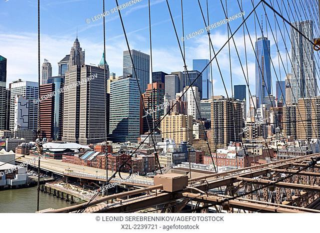 View from the Brooklyn Bridge. New York, USA
