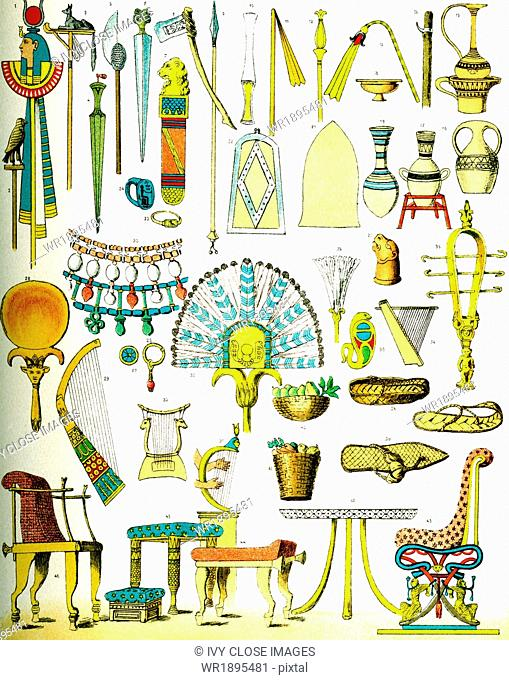 The ancient Egyptian artifacts pictured here are (each is numbered): 1-3. military standards; 4-9. weapons; 10-13. scepters, 14. hook-stick; 15-20