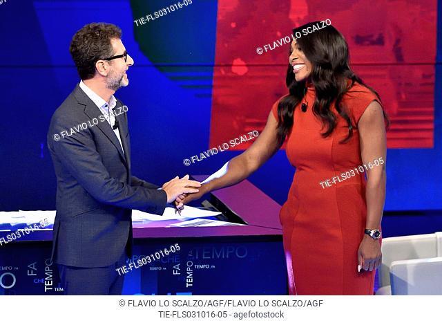 Tv host Fabio Fazio with the tennis player Serena Williams guest at Tv show Che tempo che fa, Milan, ITALY-02-10-2016