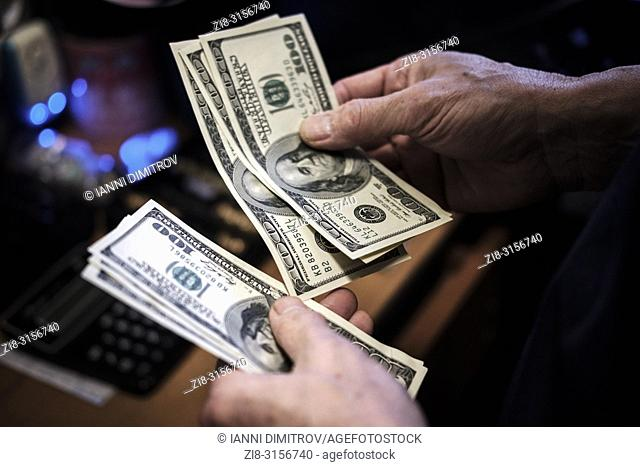USA currency. Hundred dollar bills-counting cash