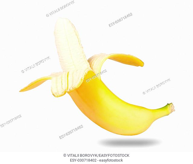 Peeled Ripe Banana Isolated On White Background