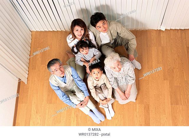 Portrait of three generational family