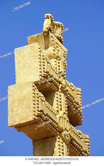 Caravaca de la Cruz (Murcia) Spain. Close-up of the Holy Cross (Veracruz) from The Basilica of the Blessed Mother and Vera Cruz